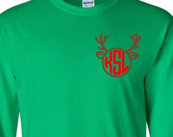 Monogram Reindeer Adult Long Sleeve T-Shirt, Christmas Monogram Clothing, Personalized Holiday Shirt
