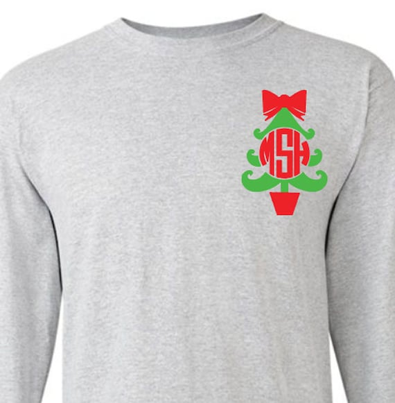 Monogram christmas tree adult long sleeve t shirt christmas for Initials on dress shirts