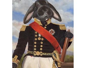 Bunny Art Print, Sir Elwood Rabbit Art, Bunny in Clothes