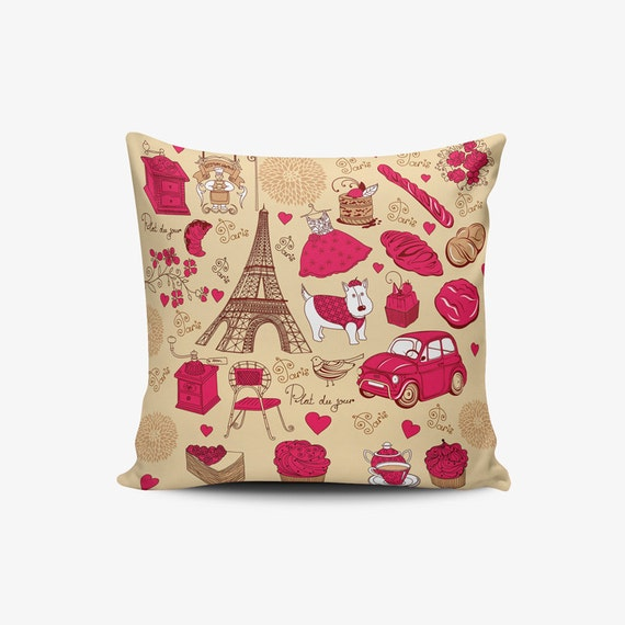 Paris Illustration Pillow Cover Shabby Chic Pillow by PluieCraft