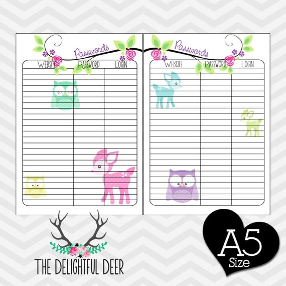 Filofax Printable A5 Password Keeper Tracker PDF Planner