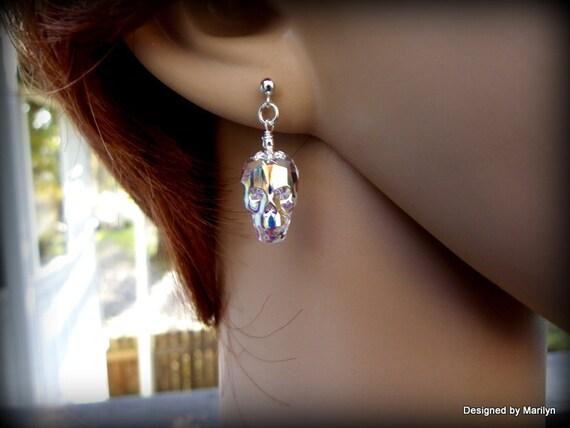 Swarovski crystal skull earrings, wedding jewelry,  Gothic earrings, Gothic jewelry, skull head, day of the dead, Halloween jewelry
