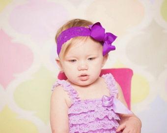 Baby Lace Headband.Lace Baby Bow Headband.Baby Hair Bow Lace Headband.Purple Bow.Purple Headband.Baby Hair Bows.Baby Girl Headband.Lace Bow