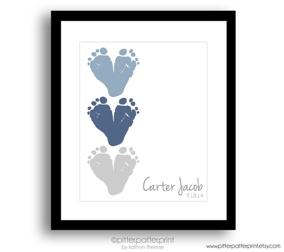 Baby Gifts For New Grandparents : Gift for new grandparents baby footprint by pitterpatterprint