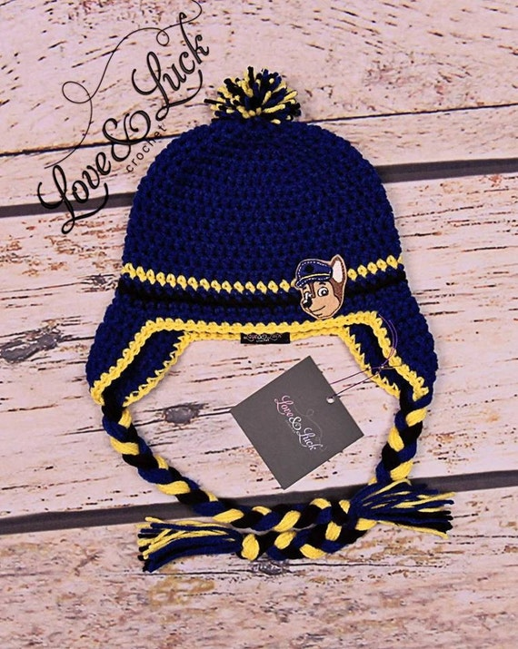 Crochet Hat Pattern Paw Patrol : SALE Paw Patrol Chase Police dog Crochet Hat with Ear flaps