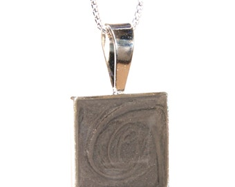 Square Cremation Pendant, 12mm - Sterling Silver Pet Ashes Jewelry