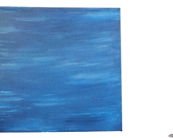 Blue Painted Canvas, Wall Art, Water Painting, Deep Edge Canvas, 20x20cm Square, Original Art, Ocean Painting, Calm Art, Blue Home Decor