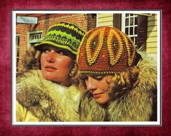 Crochet Beanie Hat Patterns - Feather Floppy Hat - 70s Brim Hat - Vintage Fashion - PDF Instant Download - Digital Pattern - Winter Cap Vtg