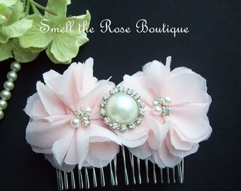 Wedding Chiffon Flower Hair Comb,Pick Your Color,Bridal Flower Hairpiece,Wedding Accessories