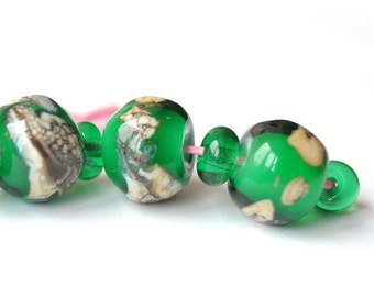Green Beads Silver Glass Free Form Lampwork Beads
