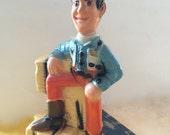 Rare Cowboy Bank Unbroken Coin Bank Chalkware Sheriff Figurine Western Scene Cowboy Figurine Country Western Home Decor Baby Boy Nursery