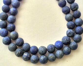 8mm Matte Lapis Round Gemstone Beads Full Strand, 49 Beads, Blue Gemstone  Beads - SLA109