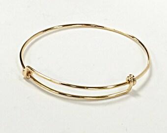 14K Gold Filled Bangle Bracelet, Adjustable Bracelet, 8 - 9.5 Inch,  Personalized Bangle Bracelet, Charm Bracelet - BBNGA02