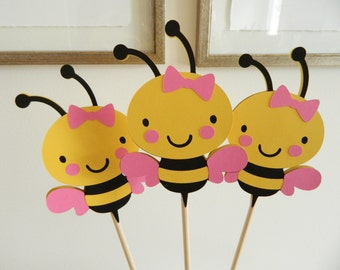 6 Girl Bee Centerpiece Sticks, Bee Baby Shower, Bee Birthday, Bee Table Decor, Mommy To Bee Banner, Mommy To Bee