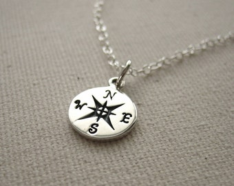 Sterling Silver Compass Necklace  - Stamped Compass, Journey Necklace, Traveler Pendant, Graduation Gift