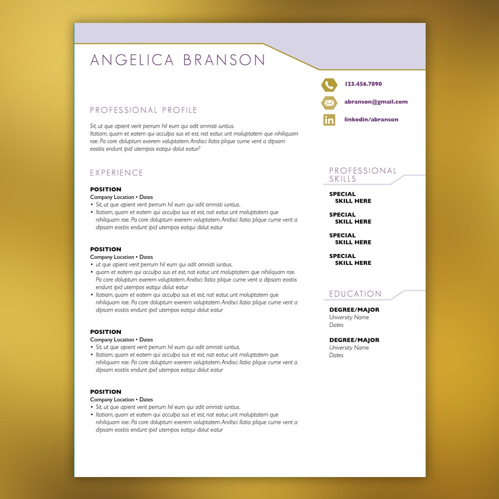 retail management resume cv template purple 4 piece set