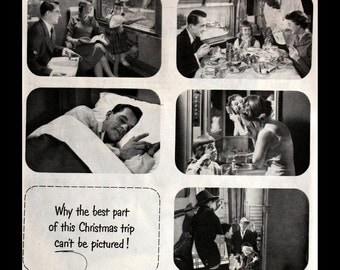 1951 Pullman Train Car Ad - Dining - Coach - Wall Art - Decor - Retro Vintage Travel Advertising