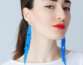 Sarche Feather Earrings Statement Earrings Lace Earrings Dangle Earrings Long Earrings Leaf Earrings Fashion Earrings Gift For Her