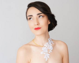 White Necklace Lace Necklace Statement Necklace White Necklace Bridal Necklace Bridal Accessory Gift For Her Woman Fashion / LASATA