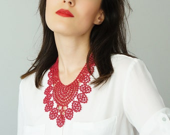 30% Inspiration Burgundy Necklace Venise Lace Necklace Bib Necklace Statement Necklace Body Jewelry Gift/ GERBOLINA
