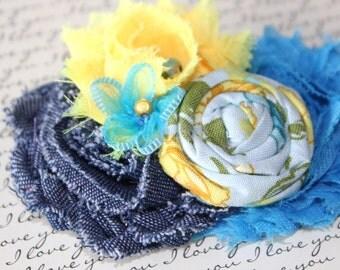 Blue Denim, Yellow and Blue Headband, Baby Headband, Toddler Headband, Girls Headband, Womans Hair Accessory, Fashion Brooch, Photo Prop!