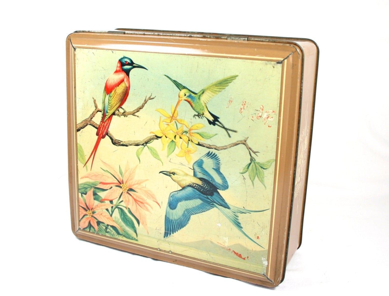 Square metal bird tin large candy tin large decorative tin box - Massieve decoratieve tuin ...