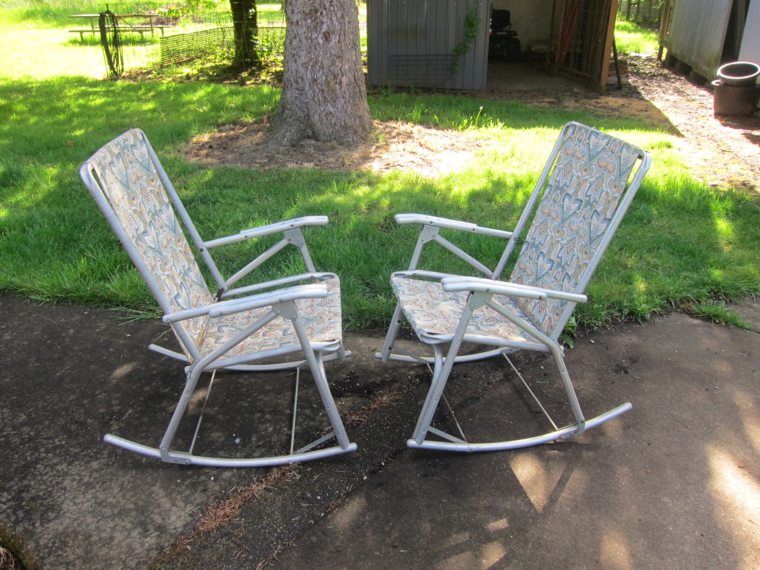 Pair of Vintage Aluminum Tubing Rocking Lawn Chairs Patio