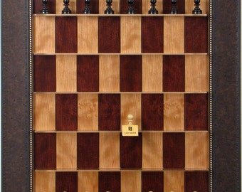 Red Cherry Straight Up Chess Board with Walnut Scoop Frame and weighted Basic Chess pieces