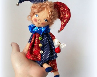 LittleDoll Harlequin, Cloth Doll,art doll,handmade.