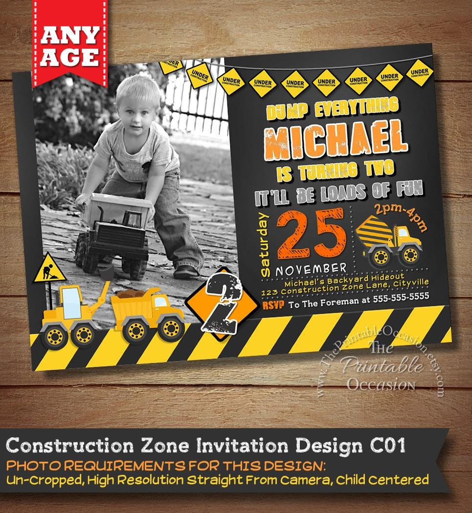 Construction Birthday Invitation By ThePrintableOccasion