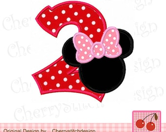 Minnie Number 2 Birthday Machine Embroidery Design -for 4x4 5x7 6x10 hoop