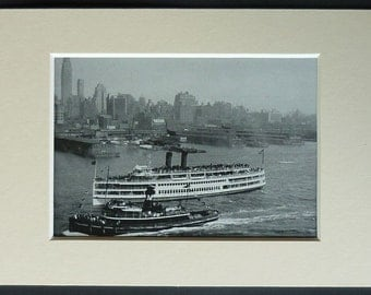 1950s City of Keansburg Ferry in front of New York Harbour, Retro nautical decor, vintage ship art New Jersey Gift Steamboat Company Picture