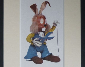 1960s Vintage Children's TV Print of Dylan the Guitar Playing Rabbit from 'The Magic Roundabout' Retro television decor, vintage hippy art
