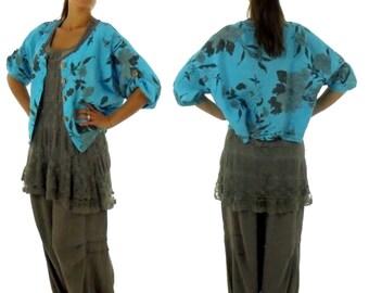 FU700 Ladies Blouse Jacket Cap Gr. S-XL turquoise / taupe