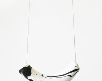 Monochrome Marble Tube Necklace