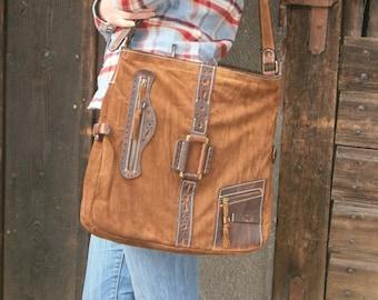 17 inch Ethno Leather Laptop Shoulder Bag,Etno Handmade Bag, Genuine leather Messenger Bag, Office bag, Laptop Leather bag, Gift for her