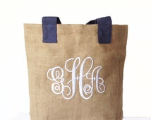 Tote Bag Burlap -Monogrammed Natural Jute Tote Bag -Personalize Market Totes -Wedding -Gift -Baby Shower -Bridesmaids Thanksgiving College