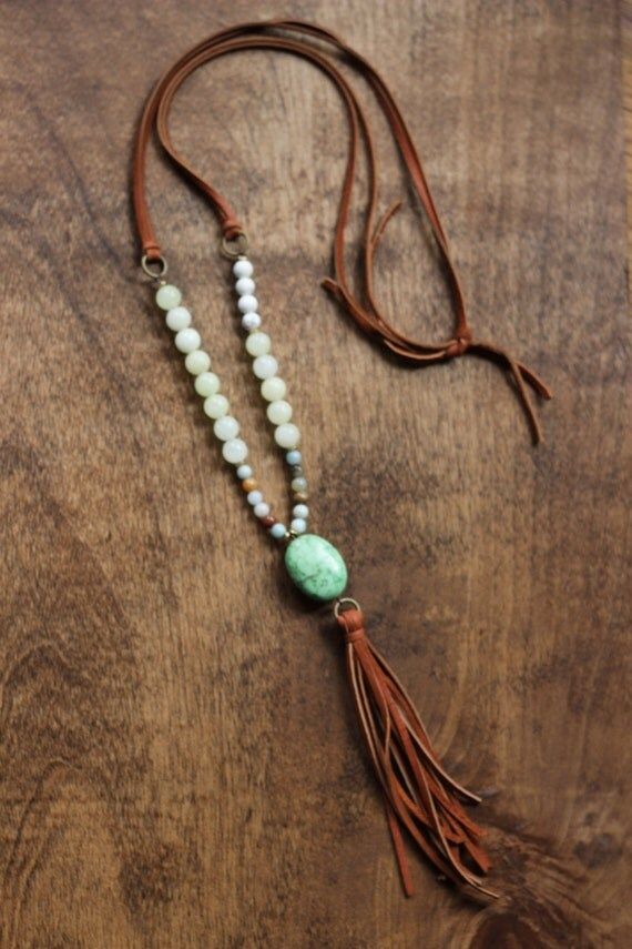 boho beaded necklace with camel tassel and green stone