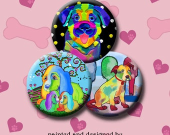 FUNKY DOGS -  Digital Collage Sheet 1 inch round images for bottle caps, pendants, round bezels, etc. Instant Download #216.