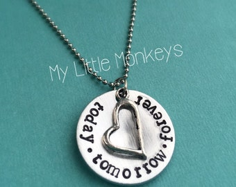"""Valentines Day Necklace: Personalized Hand Stamped Necklace -  1"""" Aluminum Circle with Heart - Today, Tomorrow, Forever"""