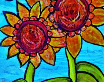 Sunflowers in a field Mixed Media Digitally Altered Print flower art