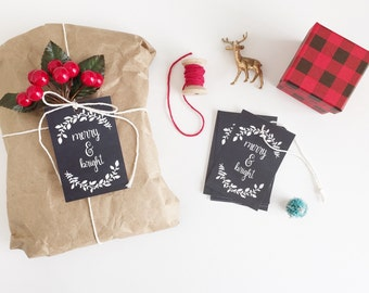 Merry and Bright Christmas gift tags Chalkboard gift labels Holiday tags Gift labels chalkboard party tags