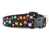 Pacman Dog Collar - Retro Video Game Gamer Jacquard Ribbon Dog Collar