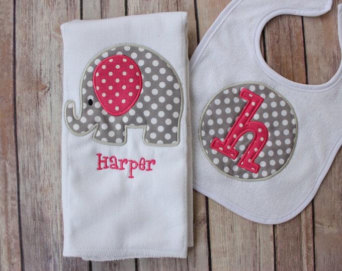 Monogrammed Baby Girl Elephant Burp Cloth Bib Set, Personalized Elephant Gift Set, Elephant Girl Gift, Girl Elephant Burp, Elephant Burp