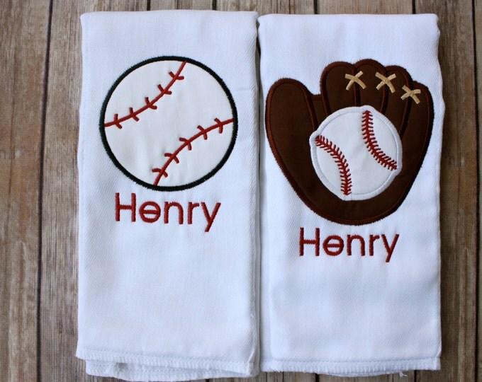 Baby Boy Baseball Burp Cloth Set - Monogrammed Baseball Gift Set - Baby Boy Baseball Gift - Baseball Baby Shower Gift - Baseball Newborn