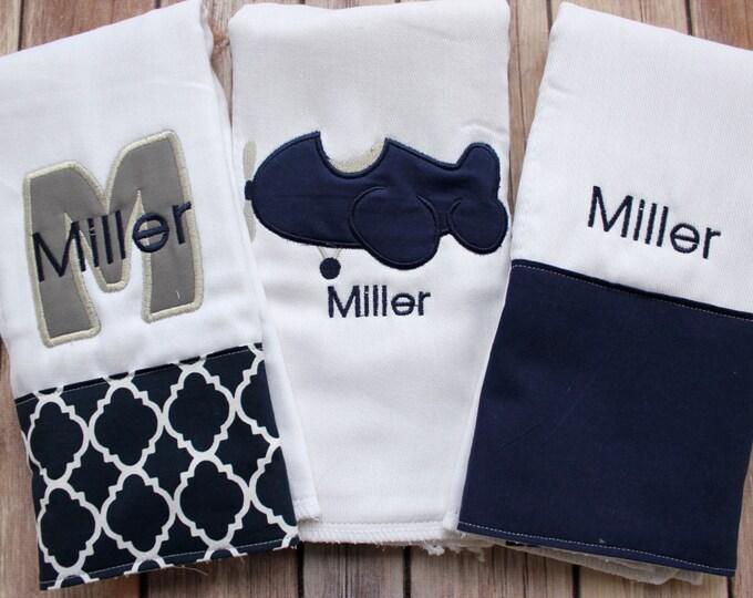 Monogrammed Airplane Burp Cloth Set, Navy Grey Baby Boy Burp Cloth Set, Personalized Airplane Burp, Boy Baby Shower Gift, Baby Boy Gift