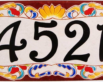 Brown Italian house numbers, Victorian numbers. House number plaque, House number sign, housewarming address sign, porcelain sign.