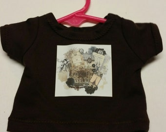 "Paris Photo Collage Shirt for 18"" Doll - Boutique American Made Girl/Boy Doll"