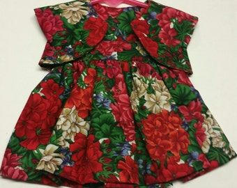 "Green & Red Floral Dress Set for 18"" Doll - Boutique American Made Girl Doll"