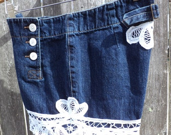 Sailor Shorts - Denim Embellished Jeans - Upcycled, Repurposed, Recycled Clothing - Size 8